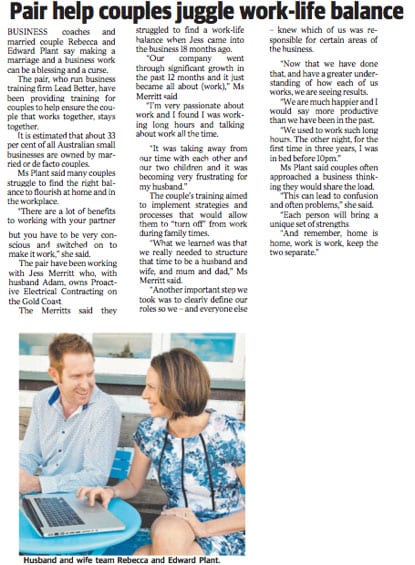 The Business League Edward Plant Gold Coast Bulletin Work Life Balance